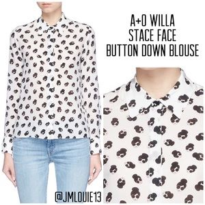 Alice + Olivia Willa Stace Face Button Down Blouse